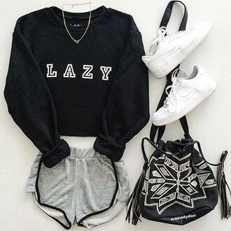 sweater nyct clothing sweatshirt lazy sweater lazy sweatshirt graphic sweatshirt graphic sweater black and white lazy day t-shirt
