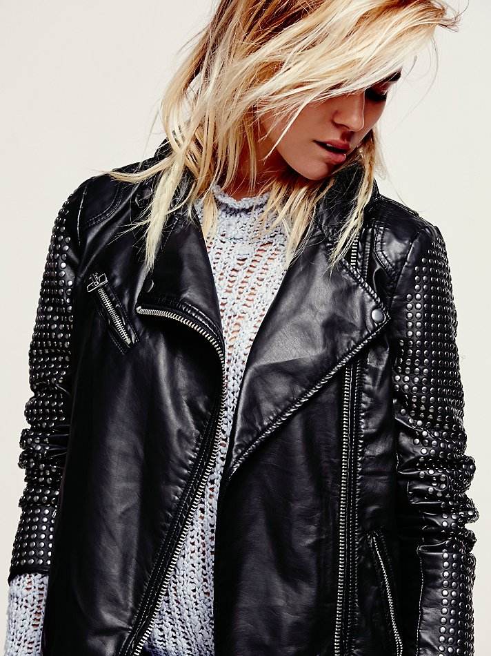 Free People Studded Vegan Leather Moto