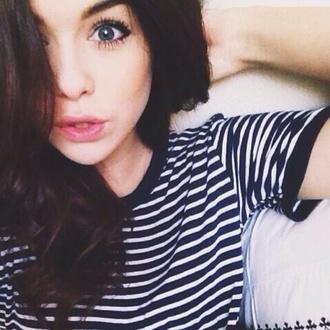 shirt stripes black acacia brinley white t-shirt blue eyes hipster hipster punk punk black collar cotton instagram tank top