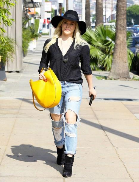 jeans hilary duff purse top hat bag