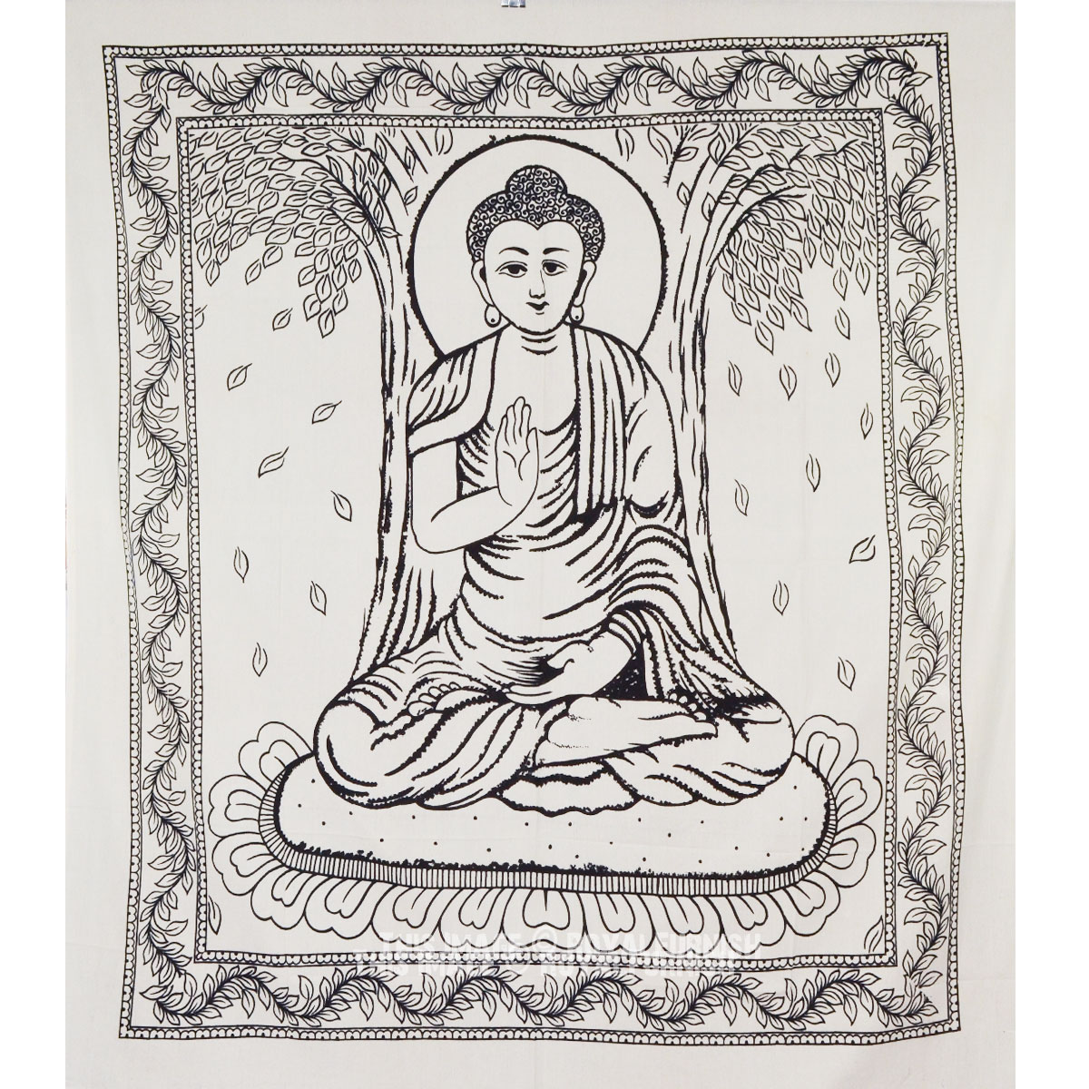 Black And White Buddhist Meditation Tapestry Wall Hanging