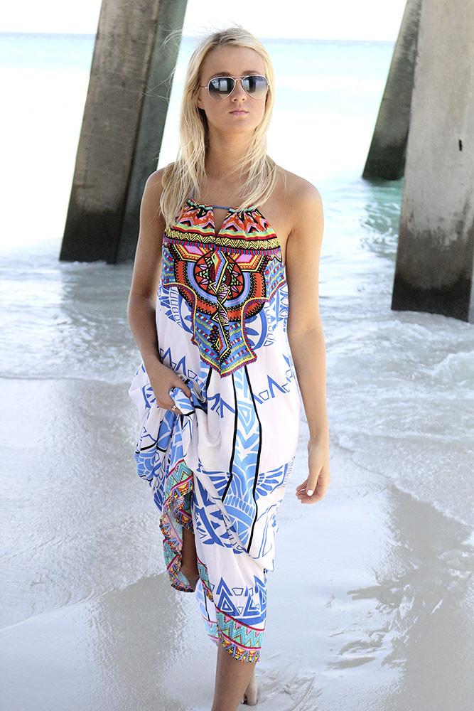 Blue tribal print maxi dress