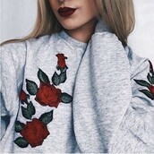 sweater,grey,grey sweater,flowers,floral,cute,tumblr,embroidered,embroidered floral,embroidered sweater,tumblr outfit,tumblr girl,tumblr sweater