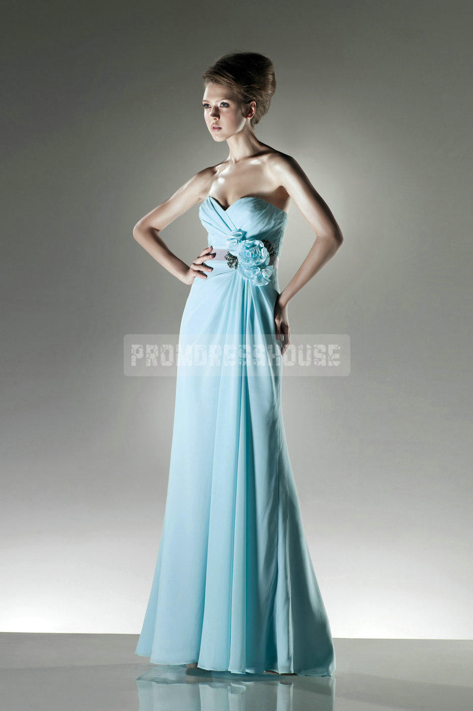 Chiffon Sweetheart A-line Flower Ribbons Dreamy Bridesmaid Dress - Promdresshouse.com