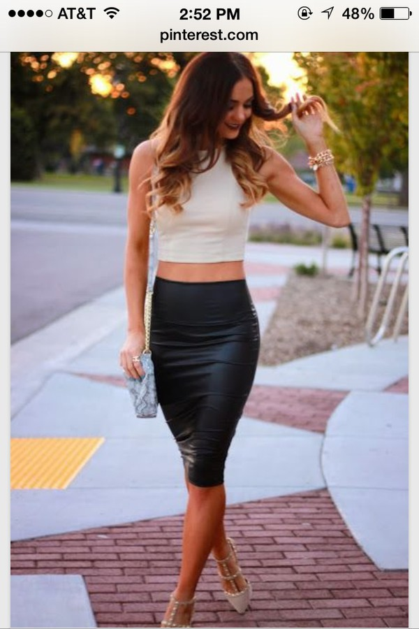 new black faux leather pencil skirt high waist