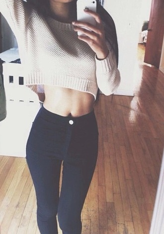 blouse beige sweater cropped sweater top crop tops
