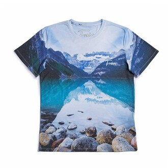 t-shirt nature print blue mountains rocks full print all over print streetstyle printed t-shirt streetwear light blue nature print lake sada