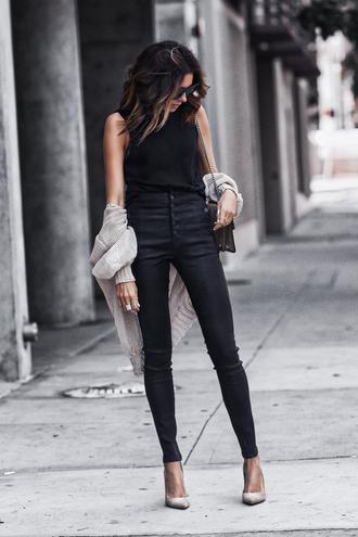 fashionedchic blogger shirt jeans shoes bag sunglasses jewels cardigan black top black jeans pumps high heel pumps
