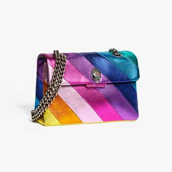 Kurt Geiger London Leather Kensington - Rainbow Stripe Shoulder Bag