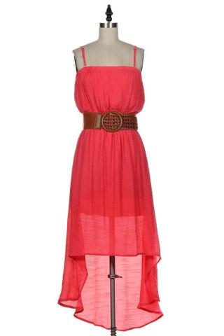 Spaghetti strap belted hi/low dress
