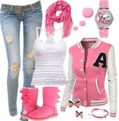 jeans,jewels,nail polish,scarf,shoes,jacket,coat,tank top,pink,outfit,pinkkk