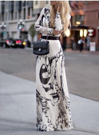 dress black and white maxi dress