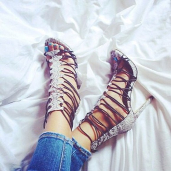 shoes lace up snake print gladiator heels gladiator sandals