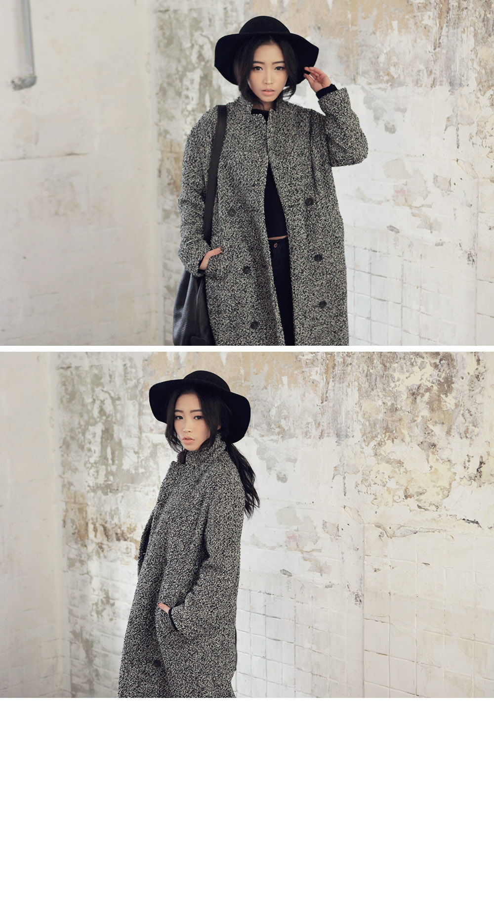 Color Blended Long Knit Coat