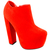 Womens Red Block Heel Suede Ankle Shoe Boots Lace Up High Platform Ladies 3 8 | eBay