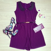 shoes,heels,print,abstrac pattern,abstract,jumpsuit,romper,purple playsuit,collar,belt,earrings,pink watch,bow,jewelry,accessories,pumps