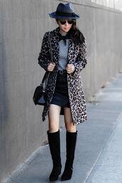 fit fab fun mom,blogger,sweater,skirt,coat,hat,shoes,bag,sunglasses,jacket,jewels,animal print,felt hat,fedora,mini skirt,knee high boots,shoulder bag