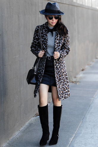 fit fab fun mom blogger sweater skirt coat hat shoes bag sunglasses jacket jewels animal print felt hat fedora mini skirt knee high boots shoulder bag
