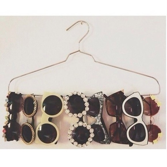 sunglasses round sunglasses fashion retro chain flower 50s style