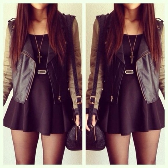 jacket dress cross necklace bag belt coat little black dress black qute utility jacket