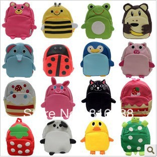 PU cute baby bags backpack baby boy girl zoo animal backpack bee cat frog pig panda pear duck cake cute craft gift on Aliexpress.com