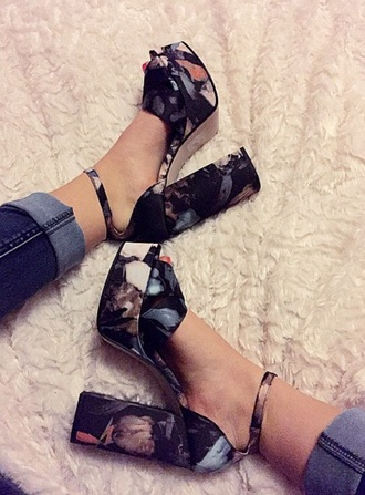 shoes instagram floral high heels cute platforms tumblr shoes