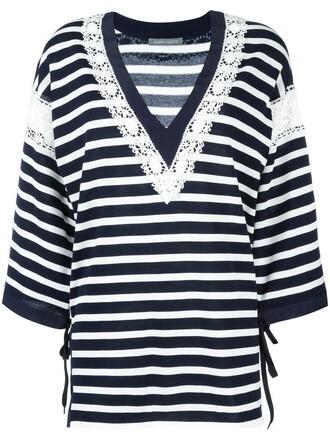 jumper women cotton blue silk sweater