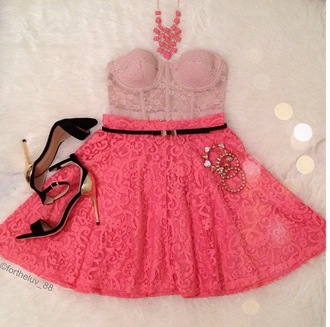 skirt lace skater skirt lace bustier coral   necklace black single sole heels skinny black belt shirt