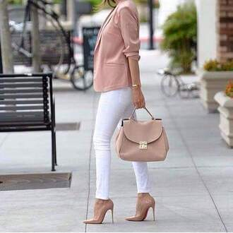 jacket high heels blazer bag street daily outfit spring fall outfits fashion peach stilettos white trousers