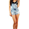 Acid wash denim wide pocketed bib frayed cut-off shorts overalls  s m l 10615 ov
