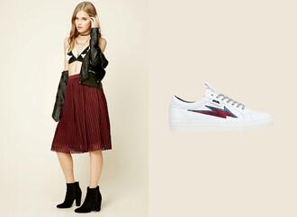 skirt midi skirt burgundy burgundy skirt pleated pleated skirt fall outfits back to school white white sneakers karl lagerfeld