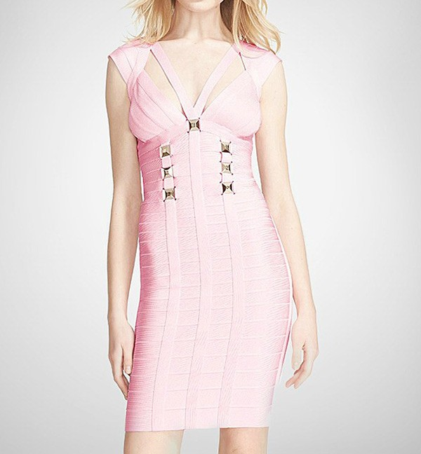 Bandage Bodycon Dress With Metal Buckles