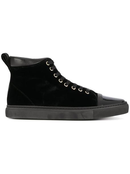 lanvin women sneakers lace leather black velvet shoes