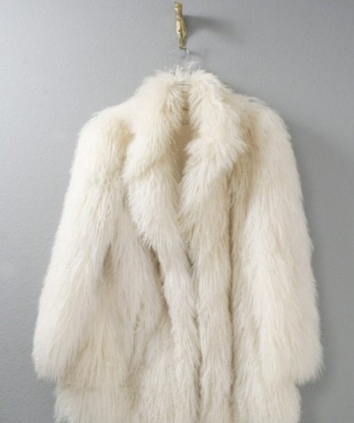 Coat: white, faux fur jacket, fur - Wheretoget