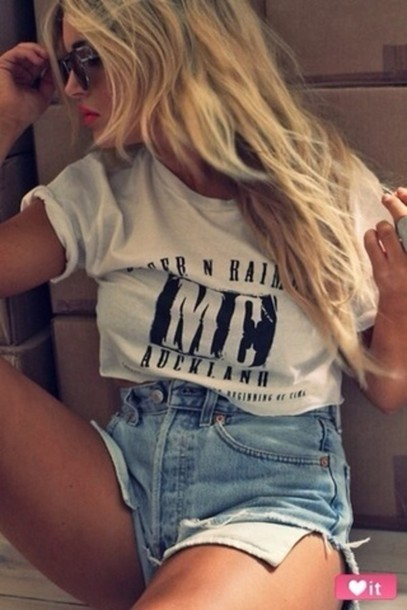 graphic tee white top High waisted shorts sunglasses summer outfits