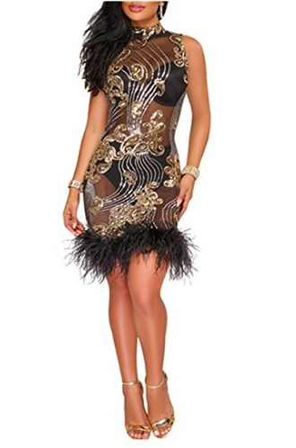 dress sequins feathers mini dress club dress party dress elegant cocktail party new year's eve black and gold dress
