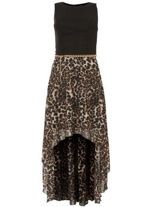 Brown Animal Print Dip Hem Dress