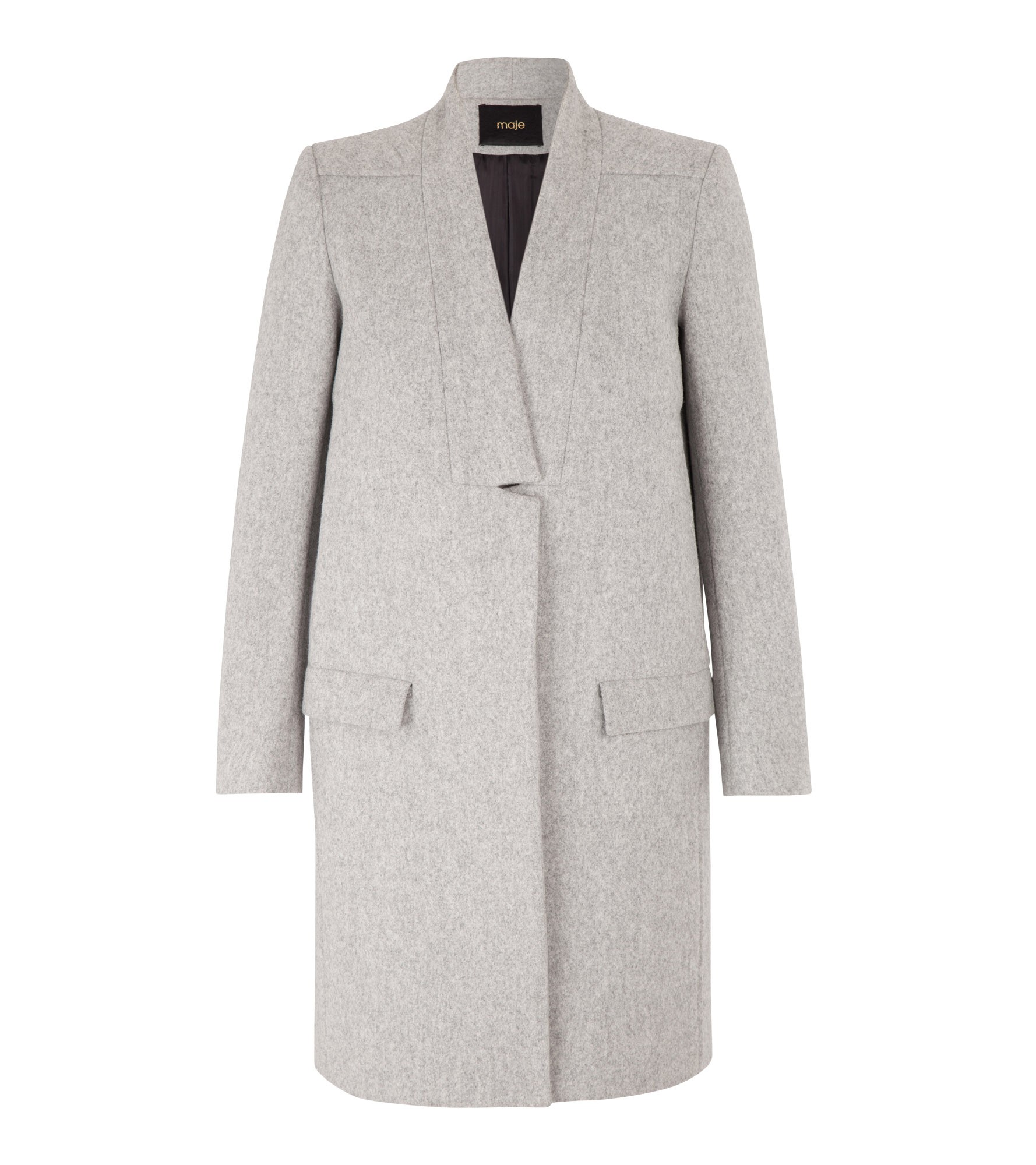 KLINTON Straight Fit Wool Coat at Maje US