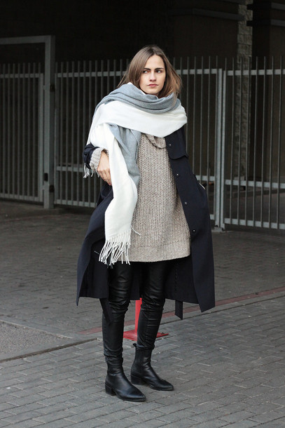 so in carmel blogger blanket scarf oversized sweater leather pants winter outfits