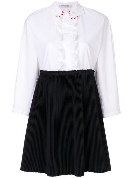 VIVETTA dress shirt dress pleated women cotton blue