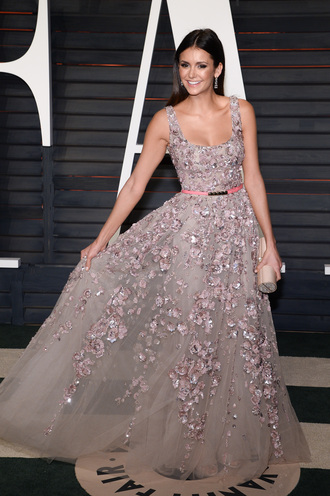 dress the vampire diaries nina dobrev oscars oscars 2016 oscars 2017 oscars 2015 cute prom dress prom pink floral dress nina dobrev dress dress  nina dobrev