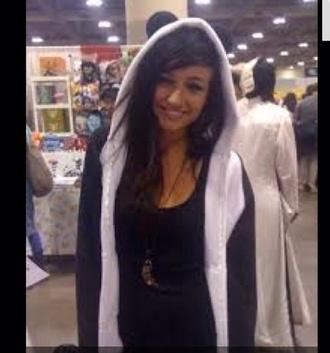 jacket panda black and white zip up hoodie lights singer lights valerie poxleitner