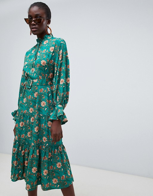 Vero Moda green floral prairie midi dress with belt at asos.com