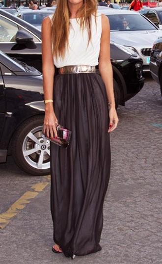 dress maxi skirt chic maxi dress black white gold maxi skirt