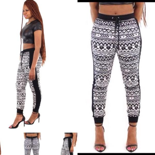 aztec tribal pattern tribal leggings sweatpants shorts swimwear black white black crop top heels pants