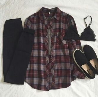 jacket shirt pattern vintage shoes underwear jeans blouse bralette bra top black underskirt flannel flannel shirt red black grey crop tops plaid grunge fashion tumblr outfit tights t-shirt purple flannel burgundy checkered oversized loose