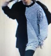 shirt,split shirt,half plain half stripes,stripes,half shirt,long sleeves,oversized