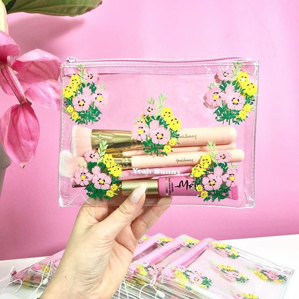 make-up yeah bunny transparent floral bag makeup bag pouch