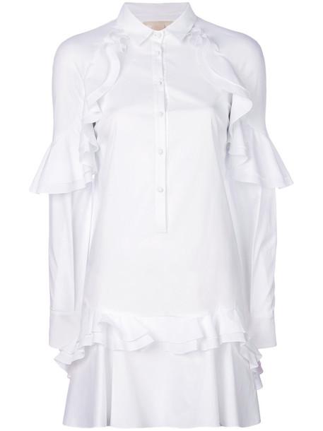 Antonio Berardi dress shirt dress ruffle women spandex white cotton
