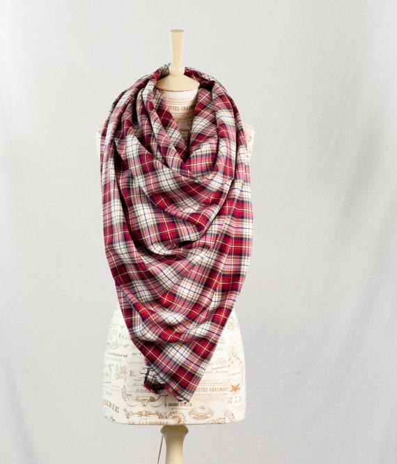 fd2b6cb5837f4 Red Plaid Blanket Scarf, Oversized Plaid Scarf, Oversize Tartan Wrap ...